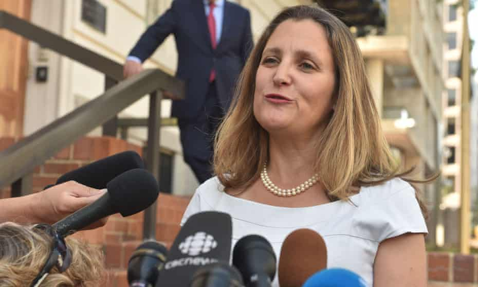 Canadian foreign minister Chrystia Freeland speaks to reporters in Washington DC on 28 August.