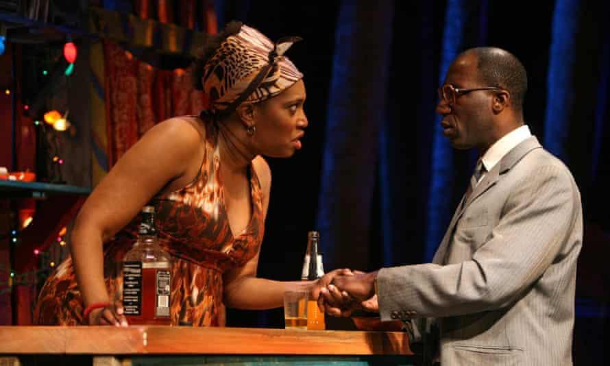 Saidah Arrika Ekulona and Russell Gebert Jones in a scene from Ruined by Lynn Nottage.