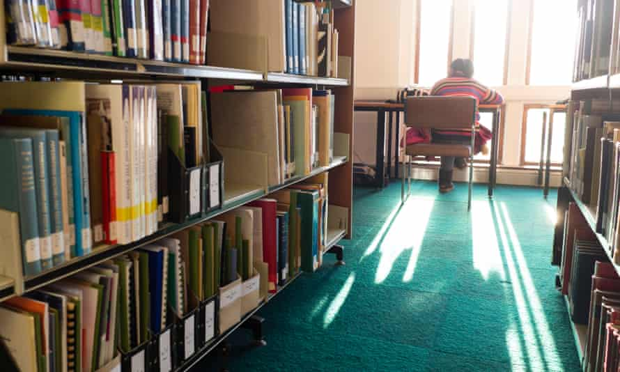 A student in a university library