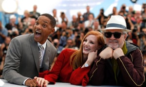 Will Smith, Jessica Chastain and Pedro Almodovar at the Cannes jury photocall in 2017. Smith and Almodovar clashed over Netflix eligibility.