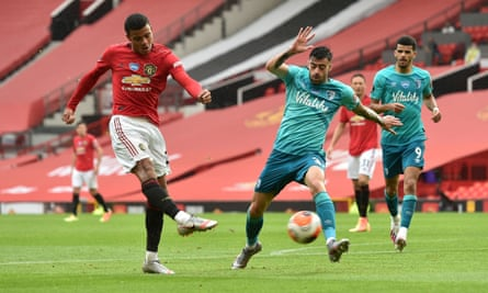 Mason Greenwood scores his second and Manchester United's fourth goal of the game against Bournemouth.
