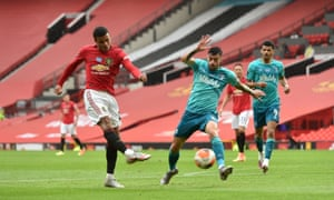 Manchester United's Mason Greenwood scores his side's fourth goal of the game.