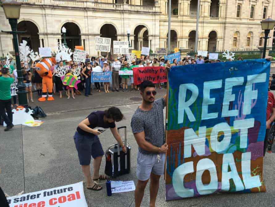 More than 100 protesters outside Queensland's parliament in Brisbane in April rally against the state government granting a mining lease to Adani.