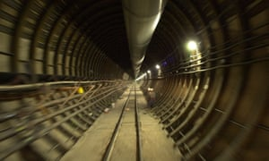 The tunnel at the Yucca Mountain Project in Nevada