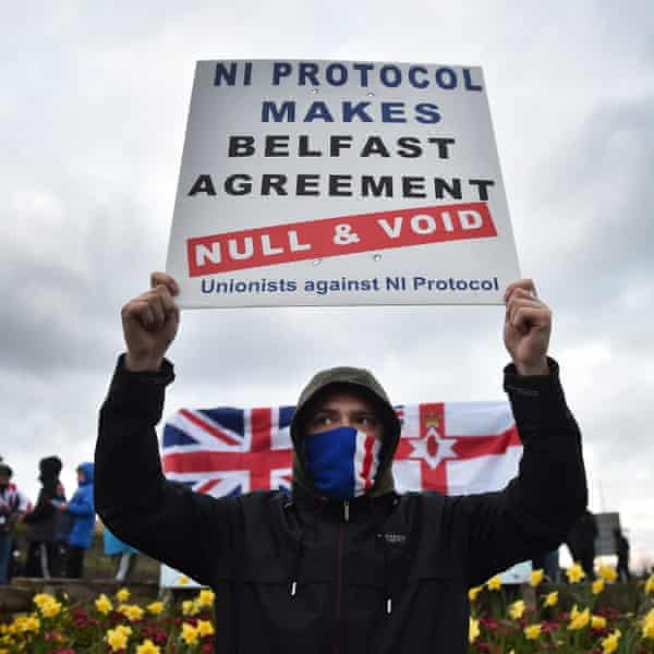 Loyalists protest against Northern Ireland's protocol to the Brexit deal in Larne, County Antrim.