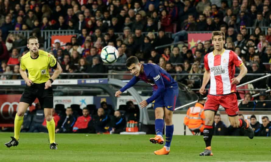 Philippe Coutinho scores for Barcelona against Girona during the Catalan clubs' La Liga meeting in February.