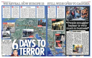 The Sun's spread claiming an investigator was smuggled through Europe without a passport