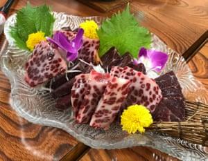 Minke whale sashimi served at a restaurant in Taiji