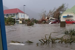 A flooded street on the French overseas island of Saint-Martin after Hurricane Irma hit the island. The storm brought gusting winds of up to 185 miles per hour and has reportedly killed at least six people.