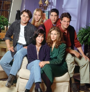 Friends stars (from left to right) Courteney Cox as Monica Geller, Matt LeBlanc as Joey Tribbiani, Lisa Kudrow as Phoebe Buffay, David Schwimmer as Ross Geller, Matthew Perry as Chandler Bing and Jennifer Aniston as Rachel Green.