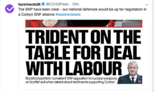 A tweet from the Conservative party press account, relabelled as factcheckUK