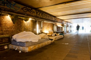 A pedestrian tunnel in Deptford, south London is a shelter to two homeless people