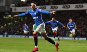 Ianis Hagi celebrates after scoring the winner for Rangers at Ibrox.