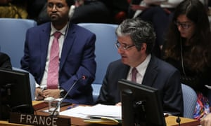 United Nations Security Council Meeting on suspected Chemical Attacks in SyriaNEW YORK, USA - APRIL 9: Francois Delattre, Ambassador of France to the United Nations gives a speech during a UN Security Council meeting on suspected chemical attacks in Douma, Syria at United Nations Headquarters in New York, United States on April 9, 2018. (Photo by Mohammed Elshamy/Anadolu Agency/Getty Images)