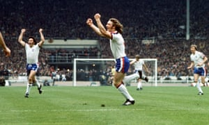 Kevin Beattie celebrates a goal for England during a 5-1 win against Scotland at Wembley in the British Home Championship, 1975.