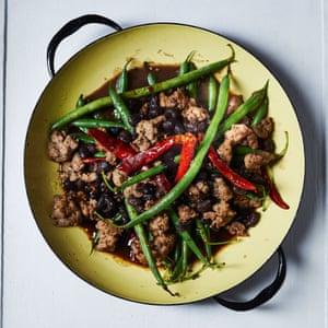 Miguel Barclay's sausage and black bean stir-fry