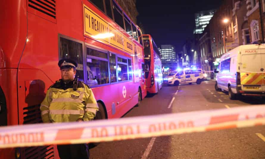 Police cordon south of London Bridge after the attack by Usman Khan.