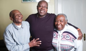 Michael Robinson with his father James, aged 100, and mother, Pearl 88, who both have Alzheimer's and require daily care.