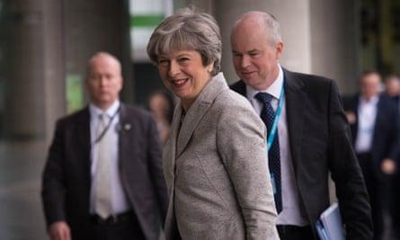 Theresa May at the BBC studios in Salford