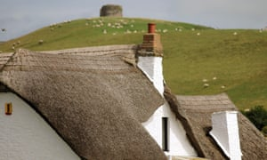 Roofline of a thatched house in North Devon