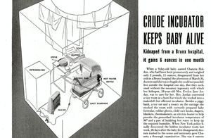 A drawing showing how Evelyn had built a home-made incubator for the baby she had kidnapped.