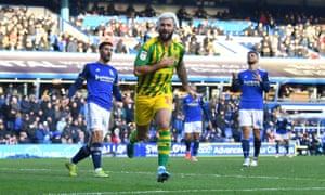 West Brom's Charlie Austin celebrates scoring his side's winner at Birmingham.