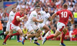 Tom Curry in action for England during the 33-19 victory against Wales at Twickenham.