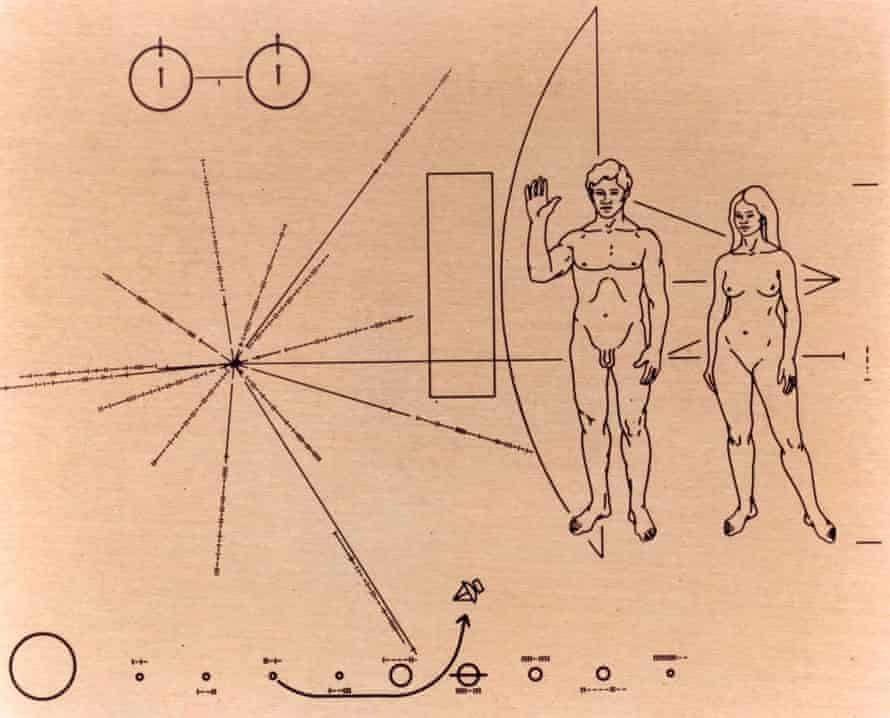 The plaque designed by Carl and Linda Sagan and Frank Drake that was attached to the Pioneer 10 spacecraft before it was launched into space in 1972.