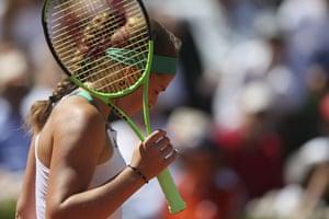 Jelena Ostapenko struggles in the second.
