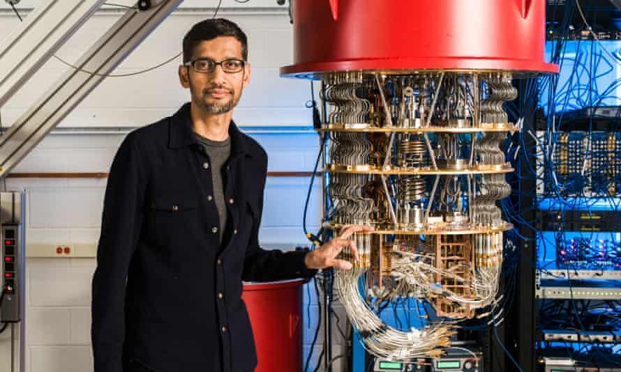 Alphabet chief exec Sundar Pichai with one of Google's quantum computers.