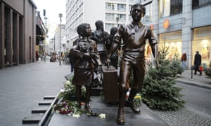 A commemorative memorial statue to the Kindertransport near Friedrichstrasse train station in central Berlin, Germany