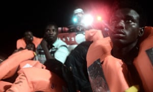 Migrants about to board the Aquarius