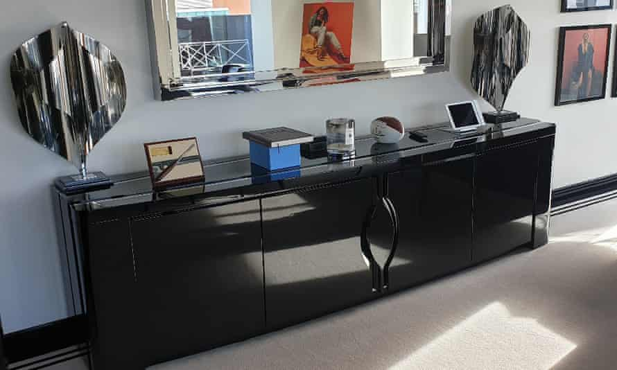 Black lacquer sideboard that is up for auction along with other furniture from Arcadia HQ.