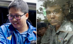 Wa Lone, left, and Kyaw Soe Oo, right, pictured outside court near Yangon.