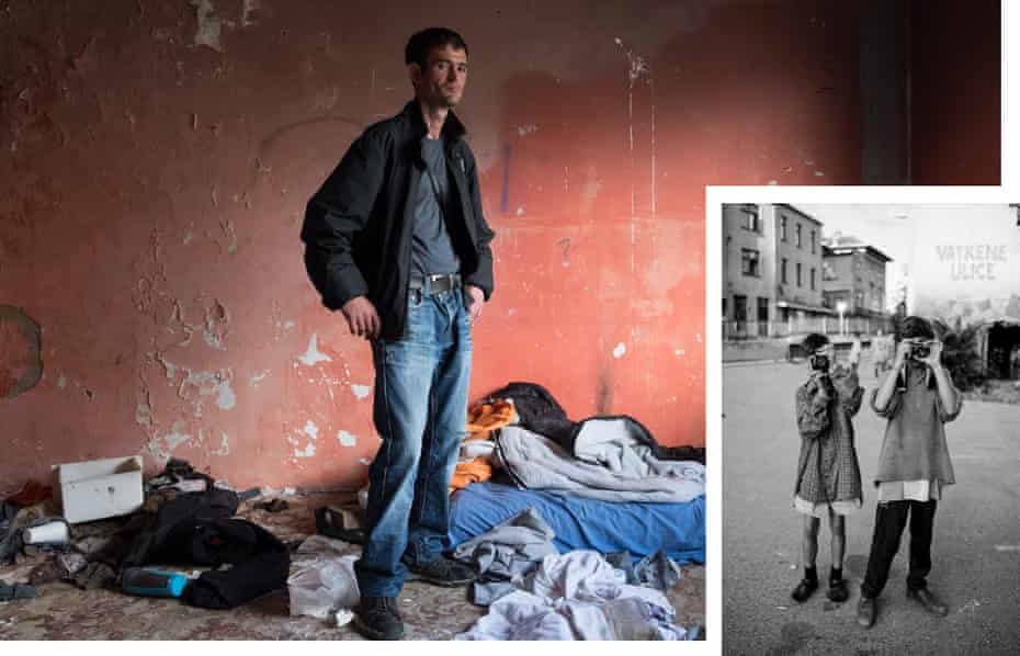Nusret revisits the bombed-out windowless squat where he lived with other homeless Sarajevans, June 2018. Inset: Nusret (aged 13) and another child.