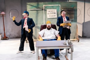 Jude Henshall, Brent Hill and Jacqy Phillips in Mr Burns: A Post-Electric Play at Belvoir