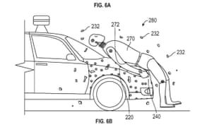 'Ideally, the adhesive coating on the front portion of the vehicle may be activated on contact and will be able to adhere to the pedestrian nearly instantaneously,' according to the patent description.