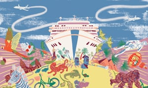 holiday and cruise-ship themed illustration for 'end of tourism' long read