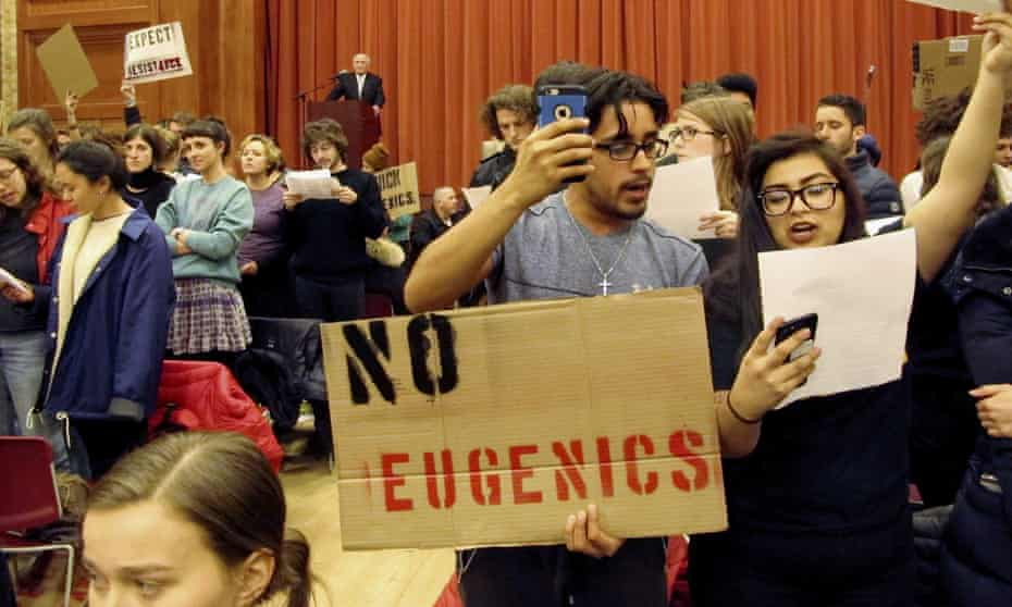 Students in Vermont turn their backs to Charles Murray during a lecture in March last year.