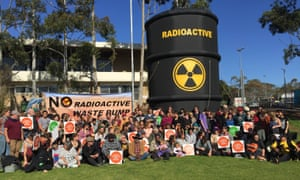 Indigenous elders and Adelaide students gather at Flinders University to protest against the dumping of nuclear waste in Australia.