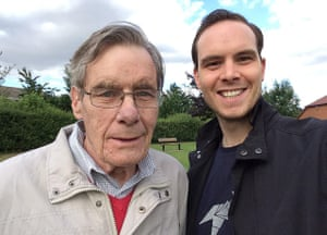 Alistair takes a selfie with his dad in South Wonston park, near to where they lived. One of the benches in the park is dedicated to Alistair's brother, Tim, and will soon also have a plaque for his dad.