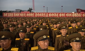Korean People's Army (KPA) soldiers attend a mass celebration in Pyongyang