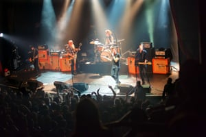 American rock group Eagles of Death Metal performing on stage at the Bataclan just prior to the attack.