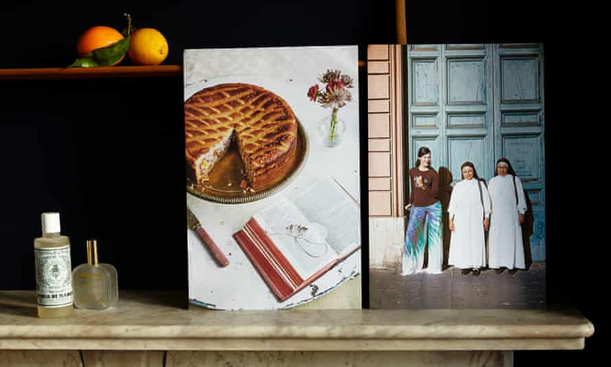 Memories of Eleonora Galasso, including a photo of her with two tiny nuns, next to a picture of the recipe she has chosen as her Taste of Home: pastiera.