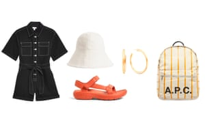 Playsuit, £42, topshop.com Hat, £45, arket.com Sandals, £30 by Teva from urbanoutfitters.com Earrings, £160, otiumberg.com Backpack, £229 by A.P.C. from endclothing.com