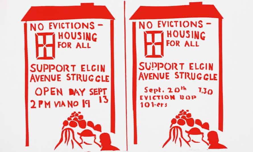 No evictions – Housing for All poster promoting an 'eviction bop' by Joe Strummer's band the 101'ers.