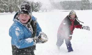 Children having a snowball fight