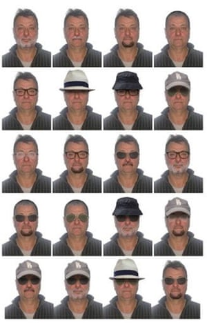 Twenty portraits of possible disguises adopted by Cesare Battisti, who has gone on the run in Rio de Janeiro, Brazil