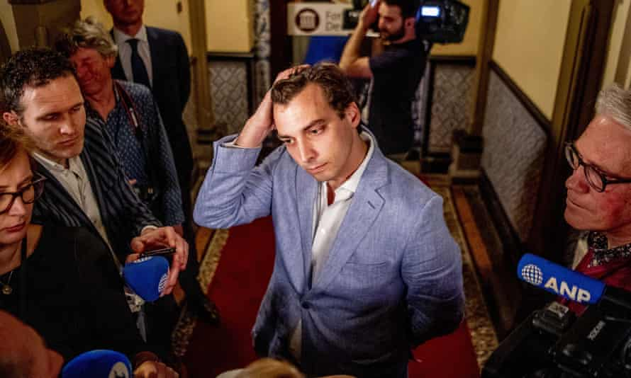 Thierry Baudet of political party Forum voor Democratie (Forum for Democracy) talks to the press, a day after the elections for the provincial councils in The Hague, the Netherlands, 21 March 2019