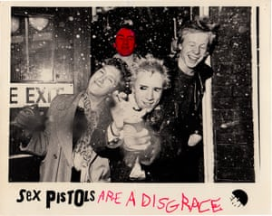 November 1976. Detourned EMI Sex Pistols publicity still from the wall of the Glitterbest officesThis publicity shot hung on the wall of Glitterbest, the company owned by the band's manager (and later pop producer) Malcolm McClaren